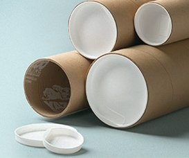 Kraft Mailing Tubes With White End Plugs